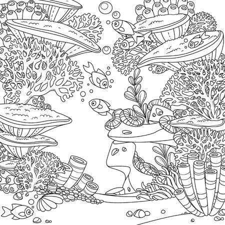 Mundo submarino de dibujos animados con corales, actinia y peces descritos aislados en blanco