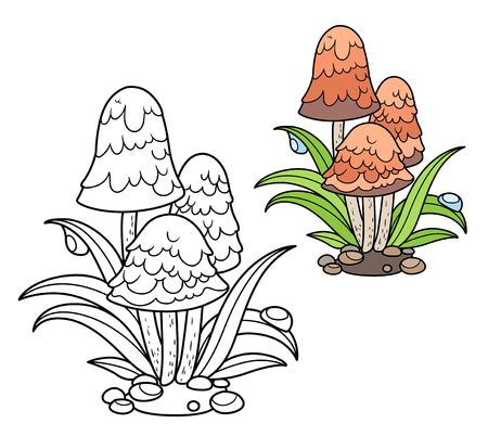 Poisonous mushrooms among green grass stalks with drops of dew color and outlined for coloring page