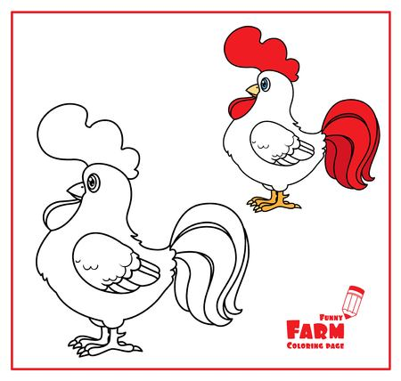 Cute cartoon rooster color and outlined on a white background  for coloring page