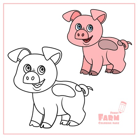 Cute cartoon pig color and outlined on a white background  for coloring page Ilustração