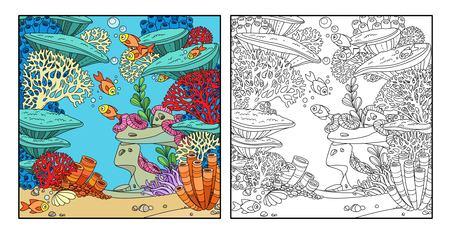 산호, 악티니아, 물고기 색이 있는 만화 수중 세계와 흰색 배경에 격리된 윤곽선