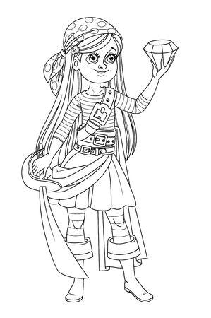 Schattige cartoon meisje in piraten kostuum kijken naar een enorme edelsteen in de hand geschetst geïsoleerd op een witte achtergrond Vector Illustratie
