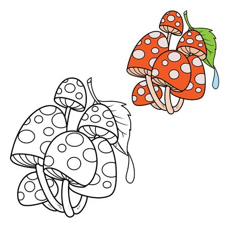 Poisonous fly agaric covered with a green leaf with a drop of dew color and outlined for coloring page Vectores