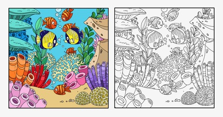 Cartoon underwater world with corals, fish, algae and anemones color outlined isolated on white background 일러스트