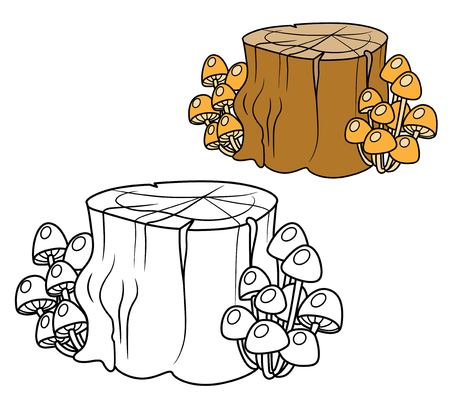 Rotten stump overgrown with mushrooms toadstools color and outlined for coloring page Stok Fotoğraf - 120218446