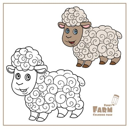 Cute cartoon sheep with fluffy fur color and outlined on a white  for coloring page