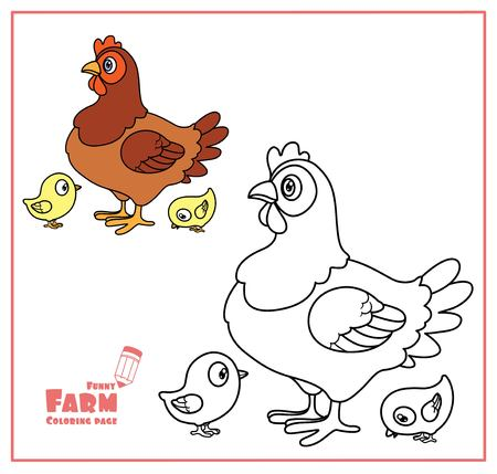 Cute cartoon hen with chicks color and outlined on a white  for coloring page Illustration