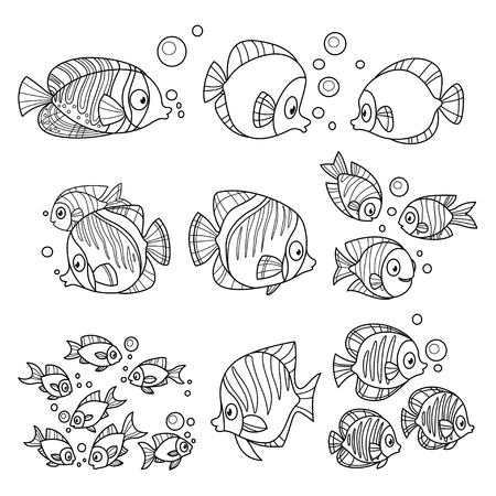 Cartoon fun sea fishes set outlined for coloring page on a white 일러스트