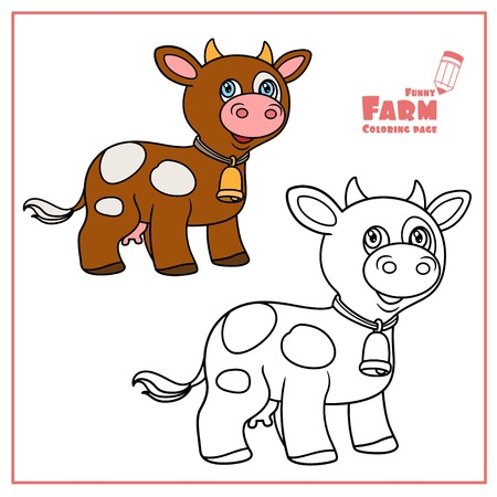 Cute cartoon brown cow with bell color and outlined on a white  for coloring page