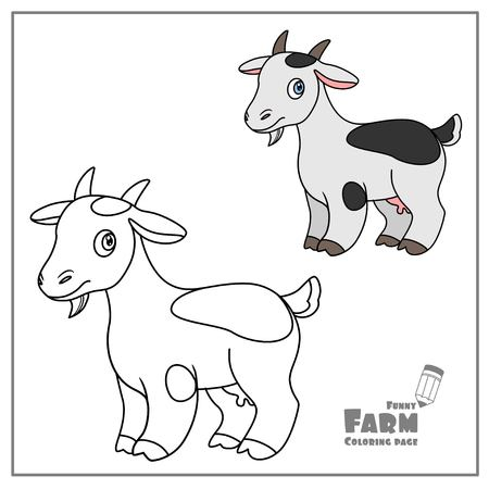 Cute cartoon goat color and outlined on a white background  for coloring page Vectores