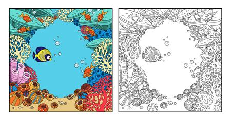 Cartoon underwater world frame with corals, fish and anemones color and outlined on awhite background