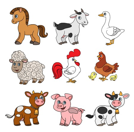 Cute cartoon farm animals set color with black outline on a white background