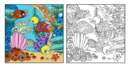 Cartoon underwater world with corals, fish and anemones color and outlined isolated on white background 向量圖像