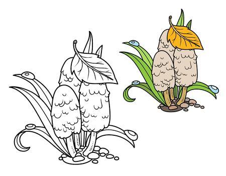 Champignons vénéneux parmi la couleur de l'herbe verte et décrits pour la page de coloriage