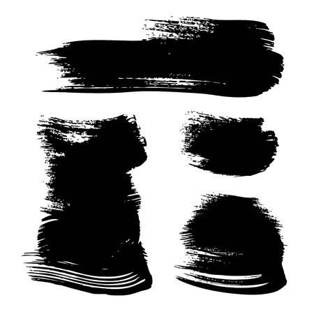 Abstract textured black ink strokes on rough paper set isolated on a white background