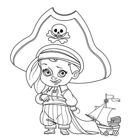 Cute cartoon boy in pirate costume and huge hat holding ship model on a rope outlined isolated on white background Ilustração