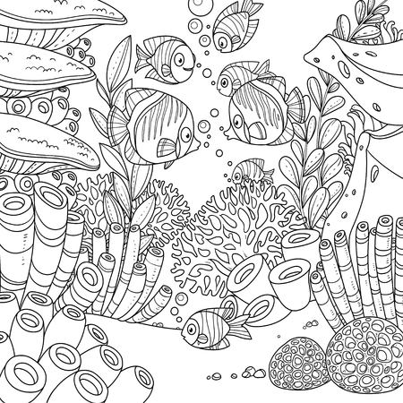 Cartoon underwater world with corals, fish, algae and anemones outlined isolated on white background