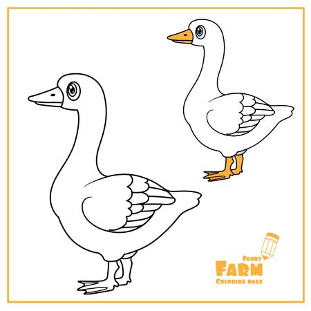Cute cartoon goose color and outlined on a white  for coloring page