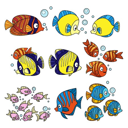 Cartoon fun sea fishes set color on a white