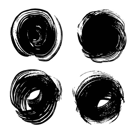 Abstract textured black circle strokes on rough paper set isolated on a white Illustration
