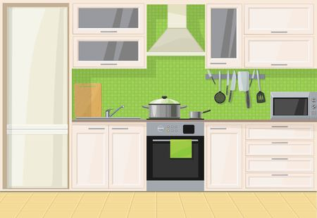 Interior light classic wood kitchen Illustration