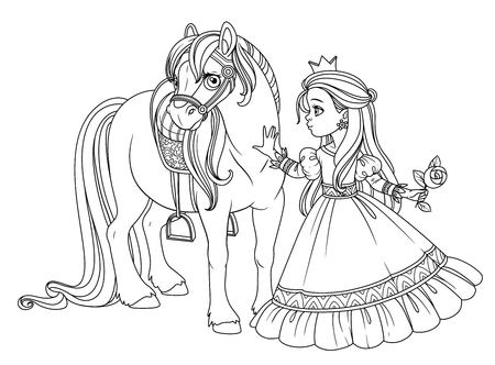 Beautiful princess stroking a horse outlined picture for coloring book on white background 版權商用圖片 - 123943697