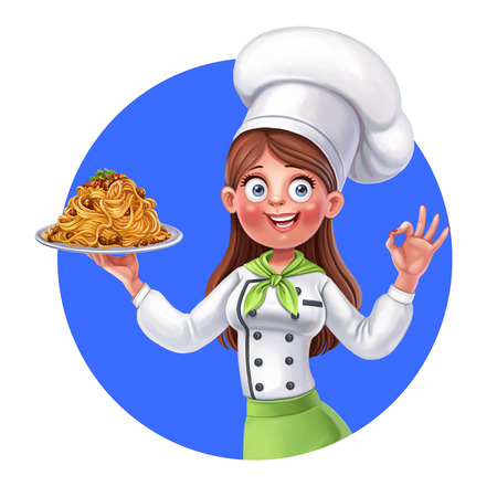 Emblem with cute cartoon girl cook holds in her hand plate of spaghetti with meat sauce on a blue background