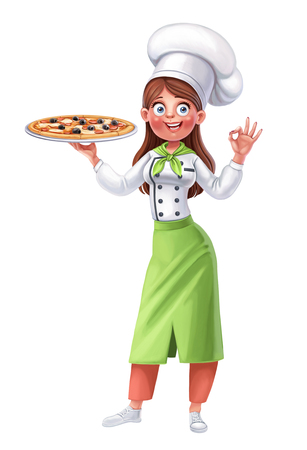Cute girl cook holds in her hand a big dish with pizza on a white background Фото со стока