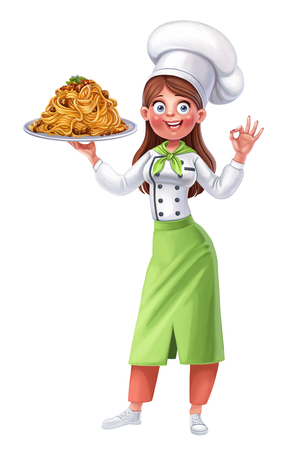 Cute girl cook offers a taste of spaghetti with meat sauce  on white background