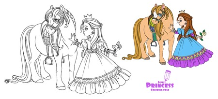 Bella princesa acariciando un color de caballo y la imagen delineada para colorear libro sobre fondo blanco. Ilustración de vector