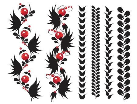 Set of black and red delicate ethnic vertical seamless ornament  from berrys or granules isolated on a white background. Design element