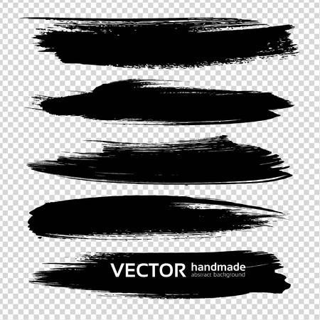 Textured big long ink black thick brush strokes on imitation transparent background Ilustracja
