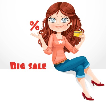 Beautiful girl with a credit card show the percent symbol and talks about big sales sitting on white banner Ilustracja