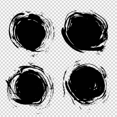 Abstract textured black circle strokes on imitation transparent background