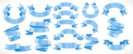 Very big set of vector festive blue ribbons various forms for decoration 2 isolated on white background Ilustracja
