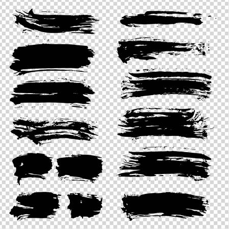 Abstract textured black smooth strokes big set on imitation transparent background