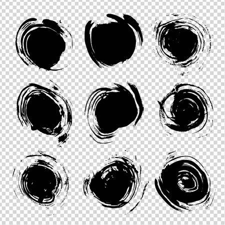 Abstract textured black circle strokes big set on imitation transparent background Ilustracja
