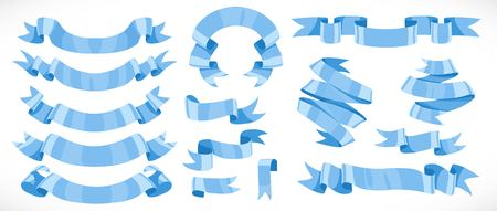 Very big set of vector festive blue ribbons for decoration isolated on white background Ilustracja