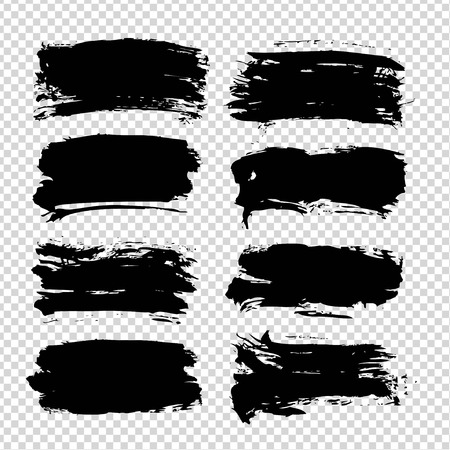 Abstract textured black smooth strokes set on imitation transparent background  イラスト・ベクター素材