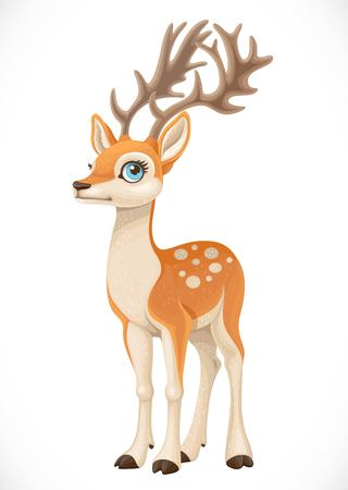 Deer with big horns and spotted back isolated on a white background