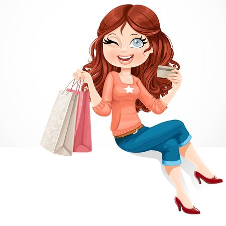 Beautiful girl with a credit card and shopping bags in her hands sitting on white banner Illustration