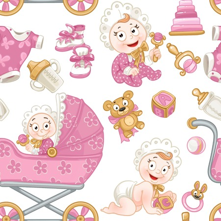 Seamless pattern from cute baby, pink baby toys, baby carriage and objects Banque d'images - 123665938