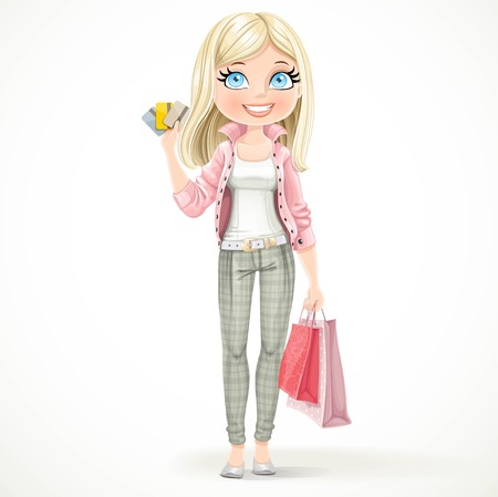 Cute blond shopaholic girl with paper bags and credit cards stand on a white background Illusztráció