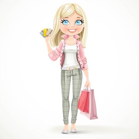 Jolie fille blonde accro du shopping avec des sacs en papier et des cartes de crédit se tient sur un fond blanc
