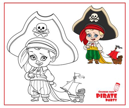 Cute cartoon boy in pirate costume and huge hat holding a ship model on rope color and outlined isolated on white background