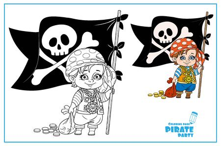 Cute cartoon boy in pirate costume holding a jolly roger and bag of coins color and outlined isolated on white background