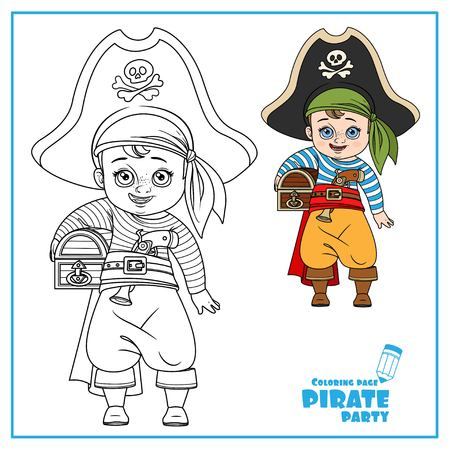 Cute cartoon boy in pirate costume holds a chest under his arm color and outlined isolated on white background
