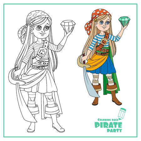 Cute cartoon girl in pirate costume looking at a huge gem in hand color and outlined isolated on white background