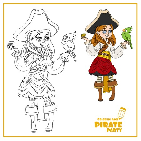 Cute cartoon girl in pirate costume with parrot color and outlined isolated on white background Banque d'images - 123665947