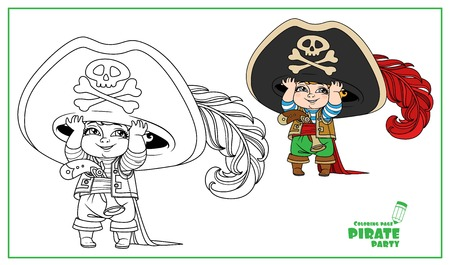 Cute cartoon little boy in pirate costume color and outlined isolated on white background